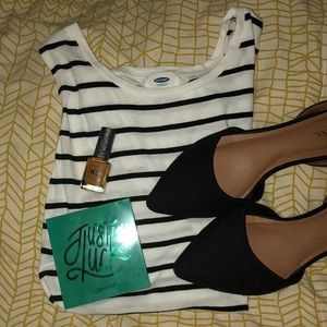 Old Navy Large White and Black Striped Peplum Top